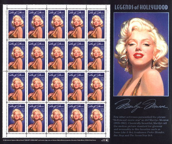 marilyn stamp US sheetlet